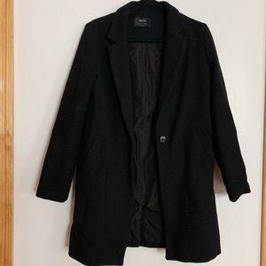 BERSHKA Straight Coat in Black